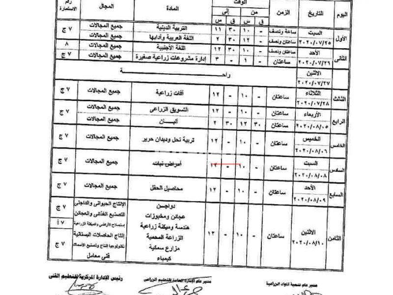 متاح الآن جدول امتحانات الدبلومات الفنية الزراعية 2020 بعد التعديل