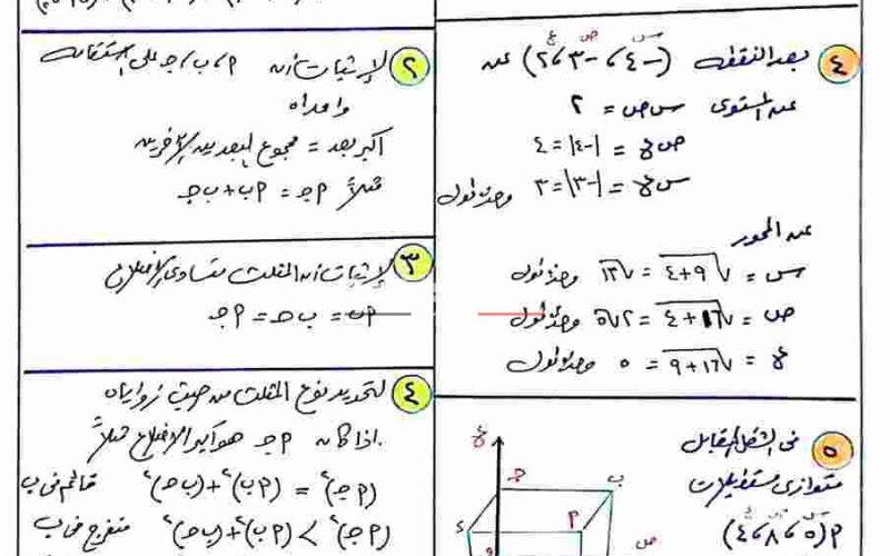 مراجعة ليلة الامتحان فى الهندسة الفراغية ثانوية عامة 2020