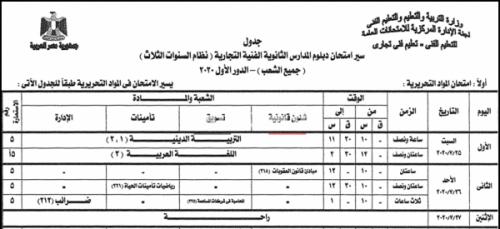 جدول امتحانات الدبلومات الفنية 2020 التحريرية من موقع وزارة التربية والتعليم