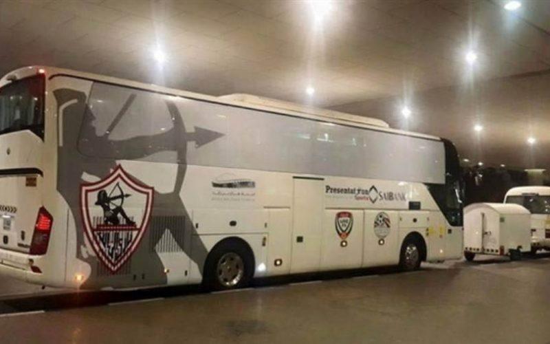 حافلة الزمالك تتجه لملعب مباراة الفريق مع تونجيث السنغالي